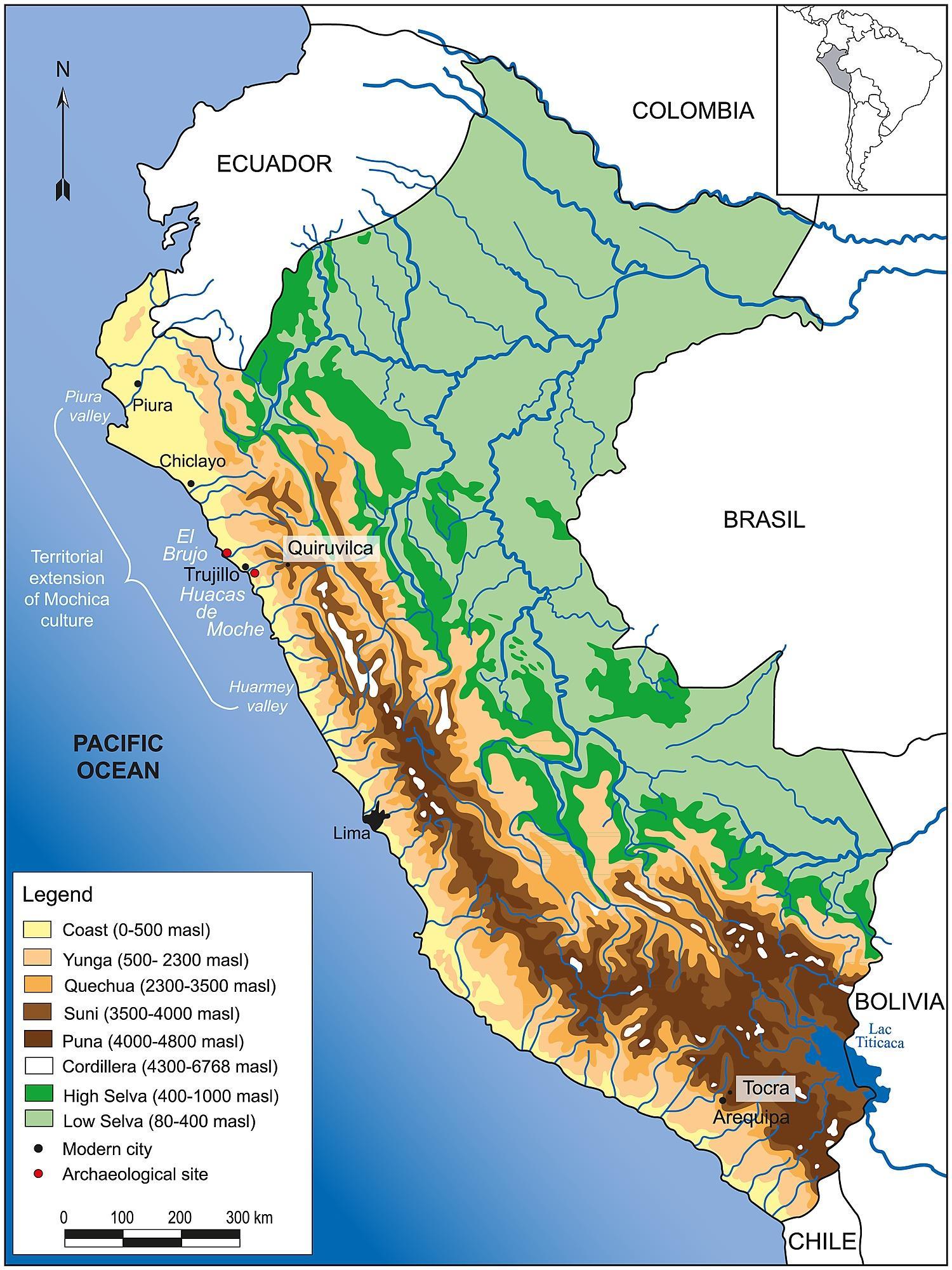 Carte Topographique Amerique Du Sud.Perou Carte Topographique Perou Carte Geographique