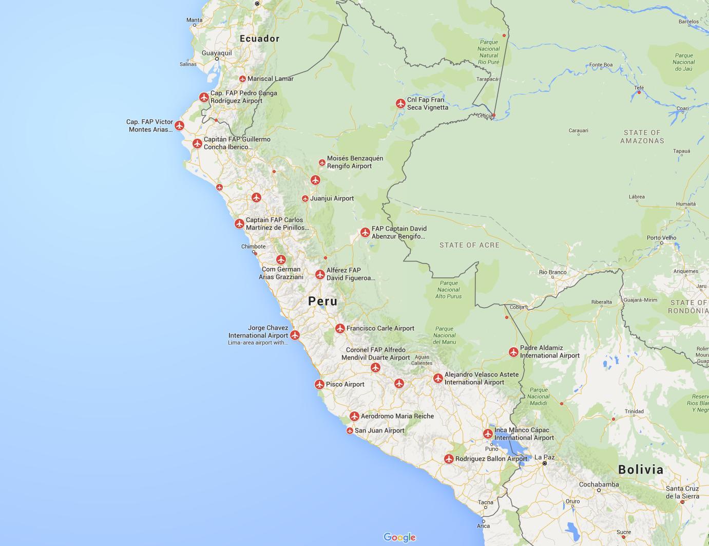 Carte Amerique Du Sud Aeroport.Perou Aeroports Carte Des Aeroports Au Perou A La Carte