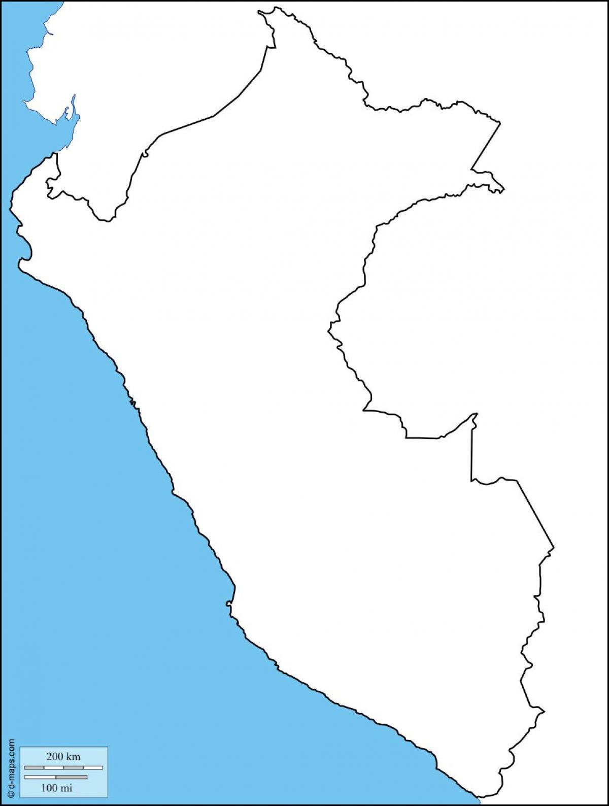 Pérou La Carte Des Contours Du Pérou Carte Vierge Amérique